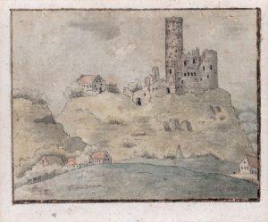 Kolorovaná kresba K. H. Máchy, který navštívil Zvířetice při své Krkonošské pouti roku 1833